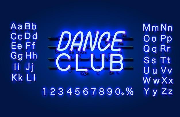 Banner de texto del club de baile de neón