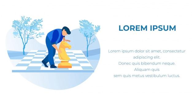 Banner de texto con empresaria moviendo caballo de ajedrez