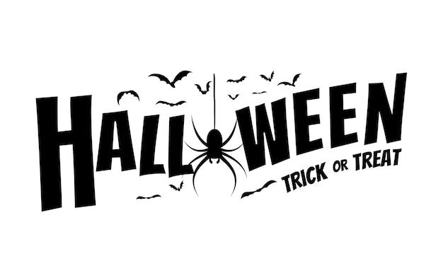 Banner de texto feliz halloween con arañas y murciélagos