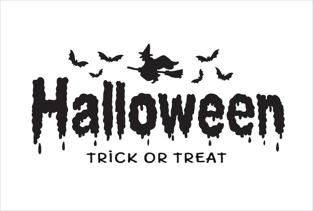 Banner de texto de feliz halloween con bruja en escoba y murciélagos, vector