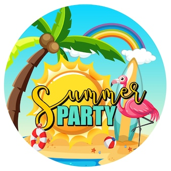 Banner de texto de fiesta de verano con fondo de playa