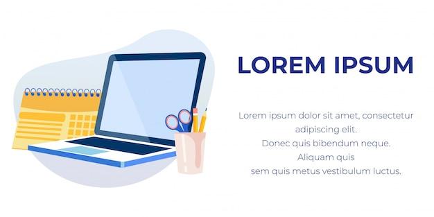 Banner de texto publicitario con computadora portátil y papelería
