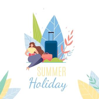 Banner de texto de vacaciones de verano. mujer de dibujos animados con equipaje descansando