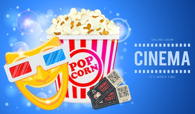 Banner de tiempo de cine y película con iconos de palomitas de maíz, máscaras, gafas 3d y entradas. ilustración