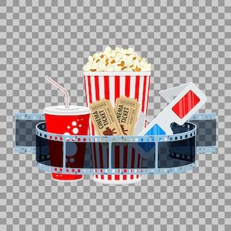 Banner de tiempo de cine y película con película transparente de iconos planos, palomitas de maíz, bebida en vaso de papel