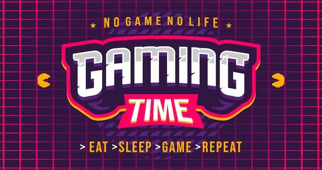 Banner de tiempo de juego en estilo retro wave