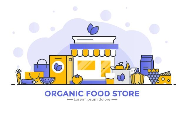 Banner de tienda de alimentos orgánicos