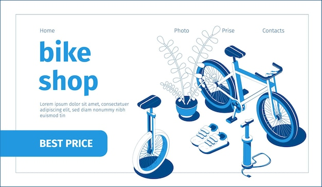 Banner de tienda de bicicletas azul y blanco isométrico con inflador de bicicletas 3d y zapatos