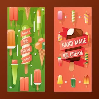 Banner de tienda de helados, folleto publicitario colorido