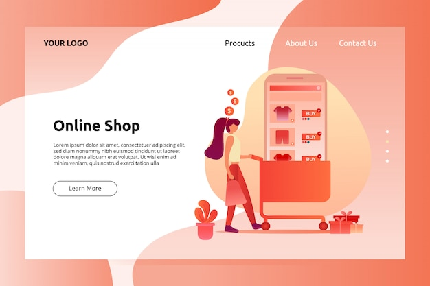 Banner de tienda en línea y ilustración de página de aterrizaje