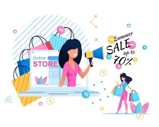 Banner de tienda en línea que ofrece excelentes ventas de verano