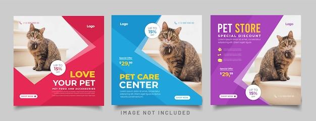 Banner de tienda de mascotas para plantilla de publicación de instagram de redes sociales