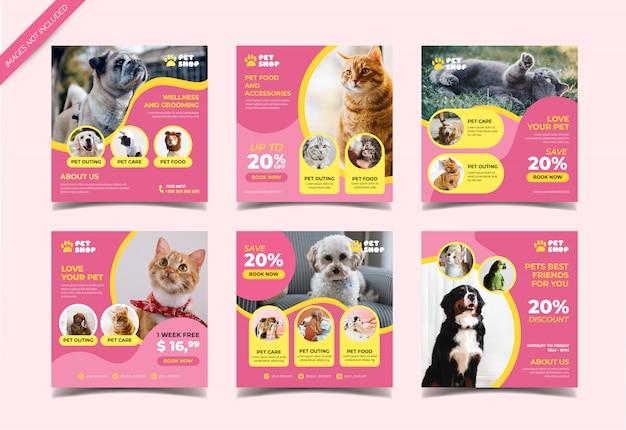 Banner de tienda de mascotas para plantilla de publicación en redes sociales