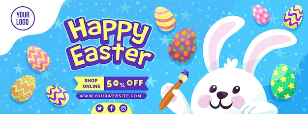 Banner de tienda online de felices pascuas