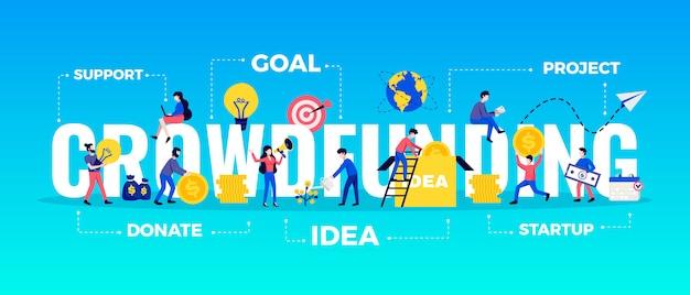 Banner de tipografía horizontal de crowdfunding con ilustración plana de símbolos de objetivo e idea