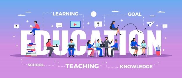 Banner de tipografía horizontal de educación con ilustración plana de símbolos de aprendizaje y conocimiento