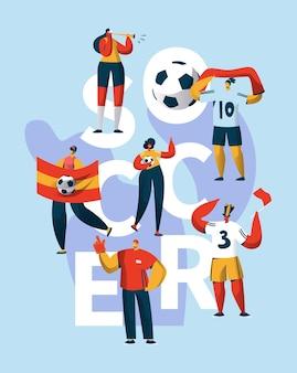 Banner de tipografía de soporte de personaje de fan de fútbol