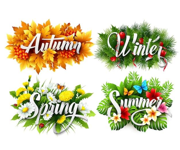 Banner tipográfico de cuatro estaciones. ilustración vectorial eps 10