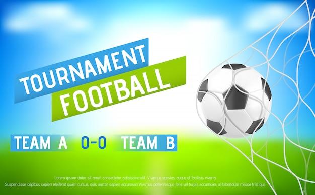 Banner de torneo de fútbol con balón en la red de la portería