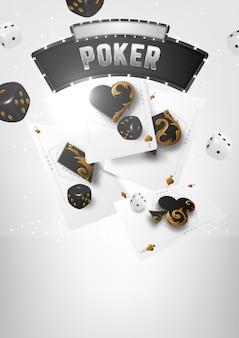 Banner de torneo de póker de casino. jugando fichas y cartas. combinación de poker con escalera real.