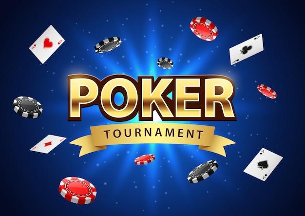Banner de torneo de póker con fichas y naipes.