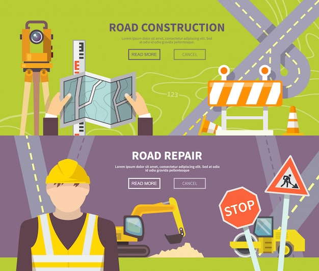 Banner de trabajador de carretera
