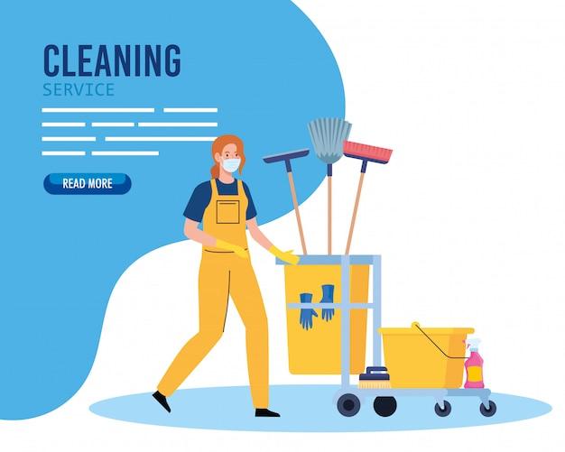 Banner, trabajador de limpieza de mujer con máscara médica con carro de limpieza, conserje de mujer con máscara médica con diseño de ilustración de vector de carro de limpieza