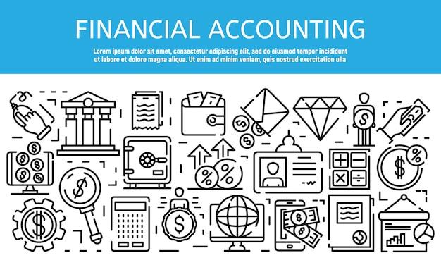 Banner de trabajo de contador financiero, estilo de contorno