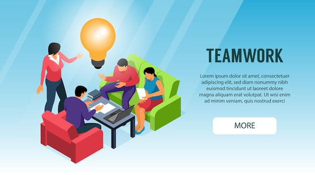 Banner de trabajo en equipo eficiente