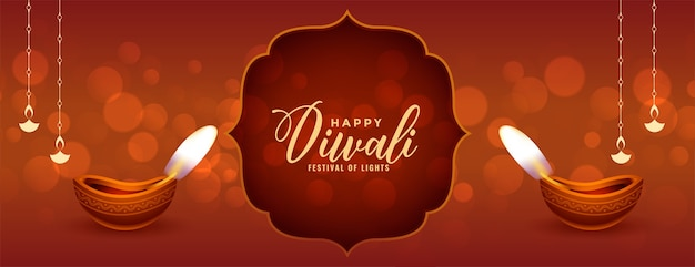 Banner tradicional feliz diwali con diya realista