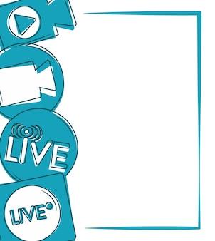 Banner de transmisión de transmisión en vivo con iconos en marco