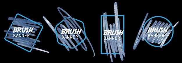 Banner de trazo de acuarela azul