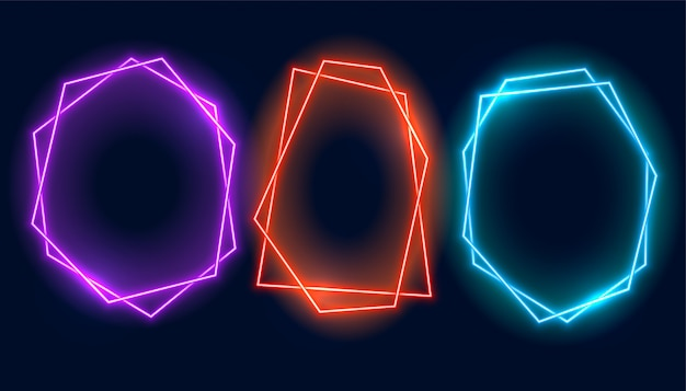 Banner de tres cuadros geométricos de neón con espacio de texto