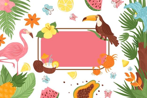 Banner tropical, marco exótico con hoja de palma