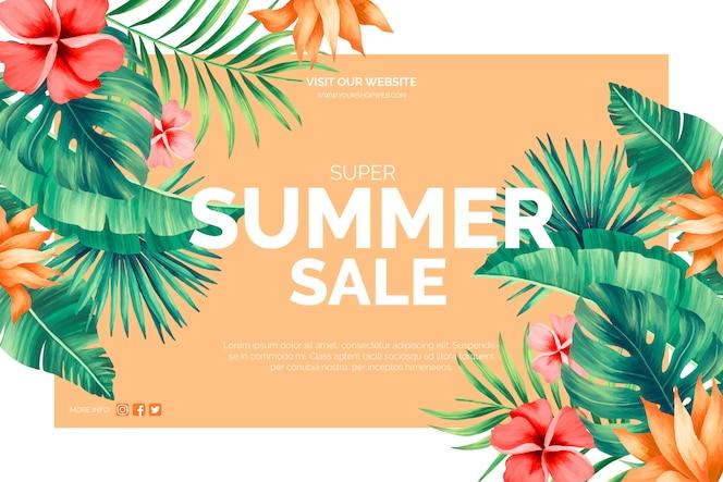 Banner tropical de venta de verano