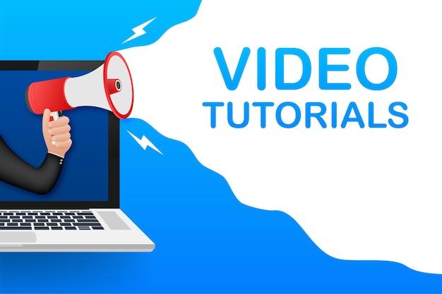 Banner de tutoriales en video. estudio y aprendizaje, educación a distancia y crecimiento del conocimiento. servicios de videoconferencia y webinar, internet y video