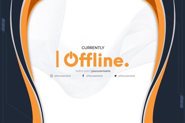 Banner twitch actualmente fuera de línea con formas abstractas de naranja