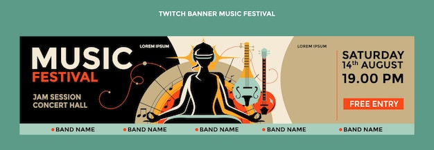 Banner de twitch colorido festival de música dibujado a mano