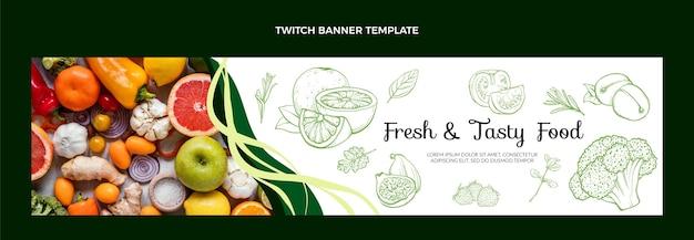 Banner de twitch de comida de estilo dibujado a mano