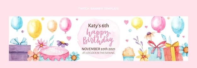 Banner de twitch de cumpleaños dibujado a mano acuarela