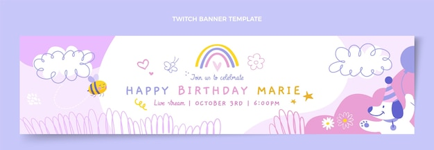 Banner de twitch de cumpleaños infantil dibujado a mano