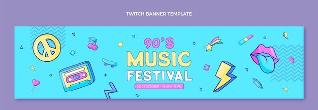 Banner de twitch del festival de música de los 90 dibujados a mano