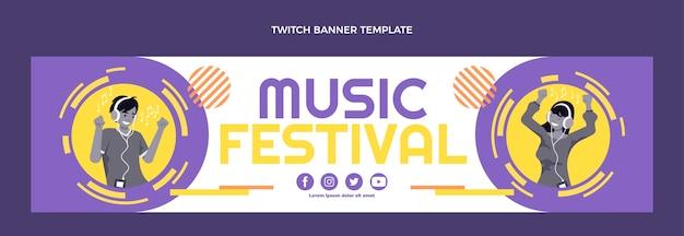 Banner de twitch de festival de música de diseño plano
