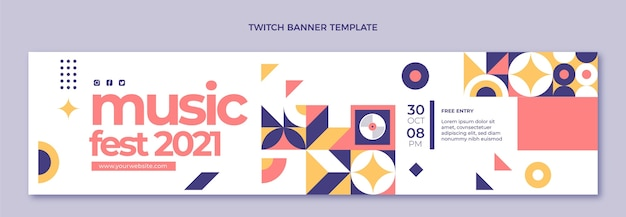 Banner de twitch de festival de música de mosaico de diseño plano