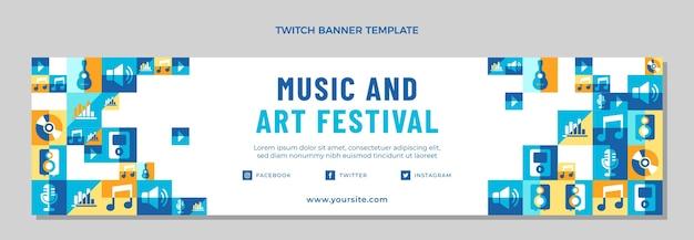 Banner de twitch de festival de música de mosaico plano
