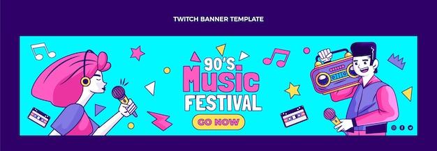 Banner de twitch del festival de música nostálgico de los 90 dibujados a mano