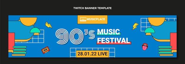 Banner de twitch del festival de música nostálgico de los 90
