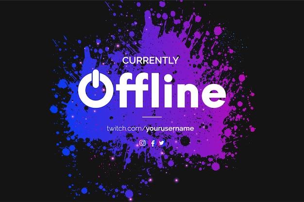 Banner de twitch moderno actualmente sin conexión con fondo colorido de salpicaduras