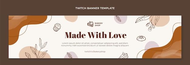Banner de twitch de panadería dibujado a mano