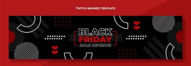 Banner de twitch de viernes negro de diseño plano